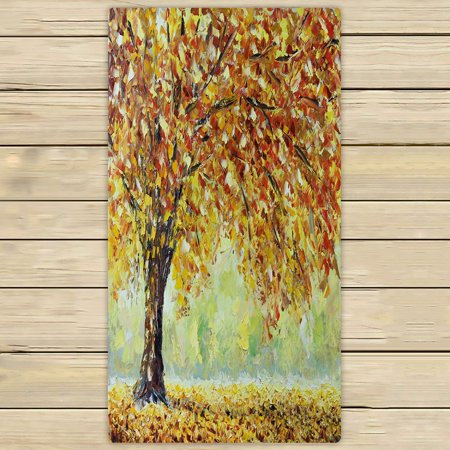 PHFZK Nature Forest Towel, Tree of Life with Falling Leaves in Autumn Hand Towel Bath Bathroom Shower Towels Beach Towel 30x56 inches - Falling Leaves Bath Towel