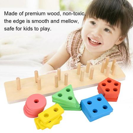 Domqga Wooden Toy, Baby Wooden Block, Colorful Geometric Board Kids Children Wooden Block Preschool Educational Toy Gift - image 7 of 8