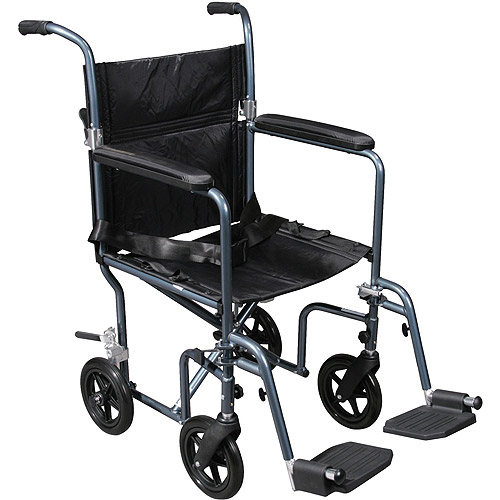 Drive Medical 19 Inches Deluxe Fly-Weight Aluminum Transport Wheelchair With Removable Casters - 1 Ea, Fw19Rw-Bl