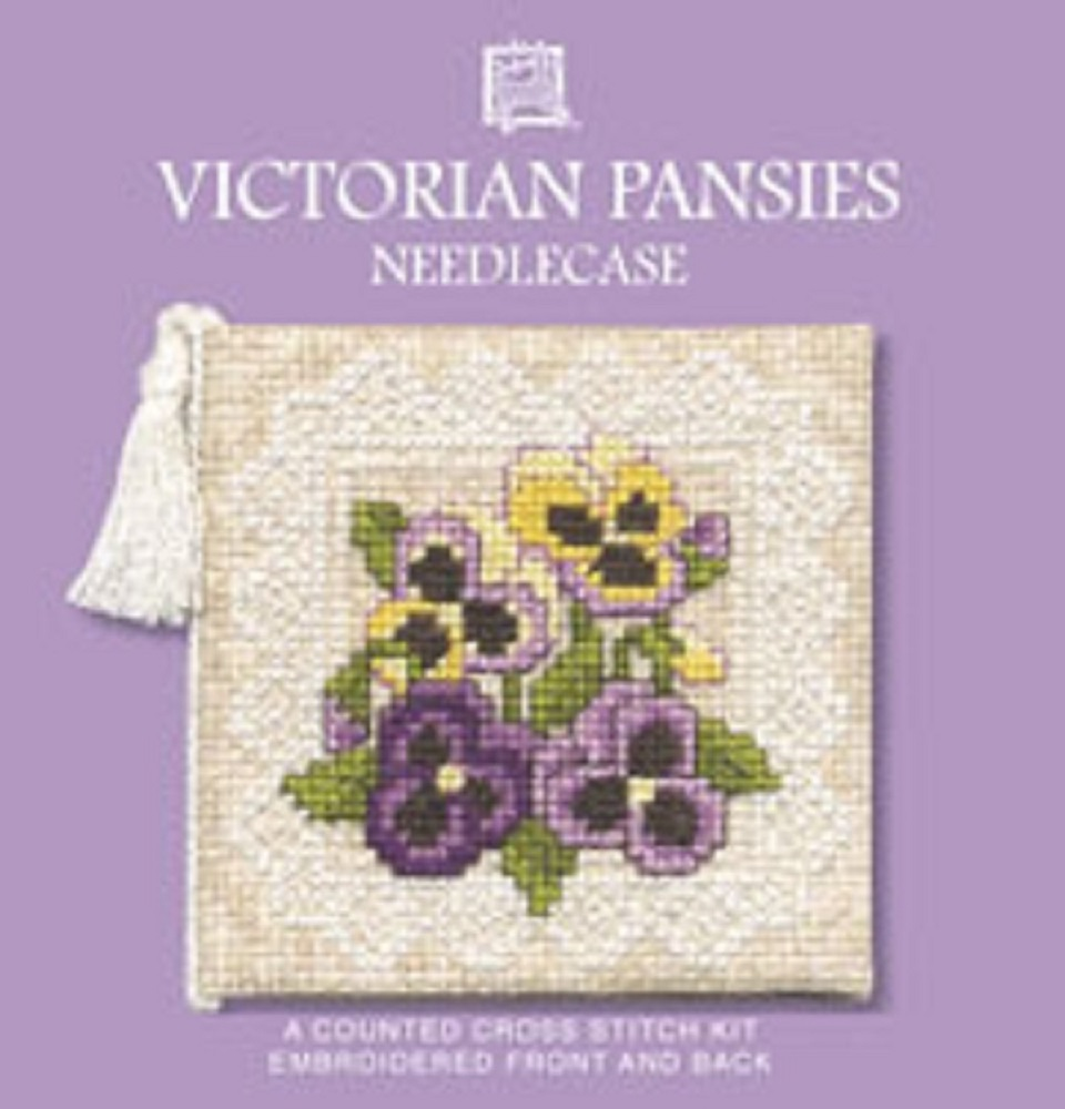 Textile Heritage Counted Cross Stitch Needle Case Kit - Victorian Pansies