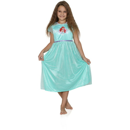 The Little Mermaid Ariel Girls Fantasy Gown Nightgown Pajamas (Toddler/Little Kid/Big Kid), Green, Size: 4