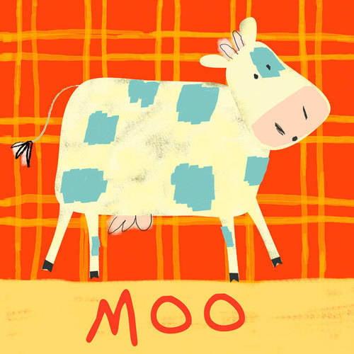 Oopsy Daisy - Canvas Wall Art Cow Says Moo 10x10 By Amy Schimler-Safford