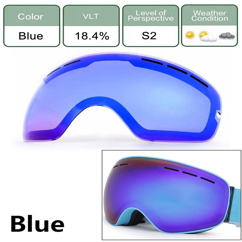 Ski Goggle Lens Double-layer Anti glare Lenses Ski Night Vision Goggles Mask Lens Anti-fog Ski Snowboard Winter Ice Snow... by