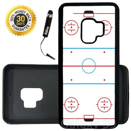Custom Galaxy S9 Case (Ice Hockey Rink) Edge-to-Edge Rubber Black Cover Ultra Slim | Lightweight | Includes Stylus Pen by Innosub