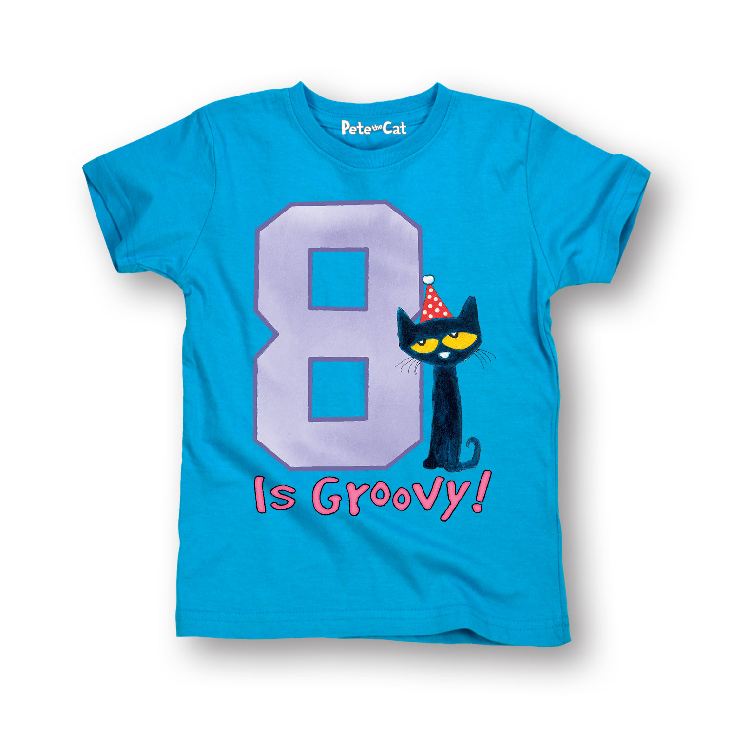 Pete the Cat 8th Birthday Girls YOUTH SHORT SLEEVE TEE