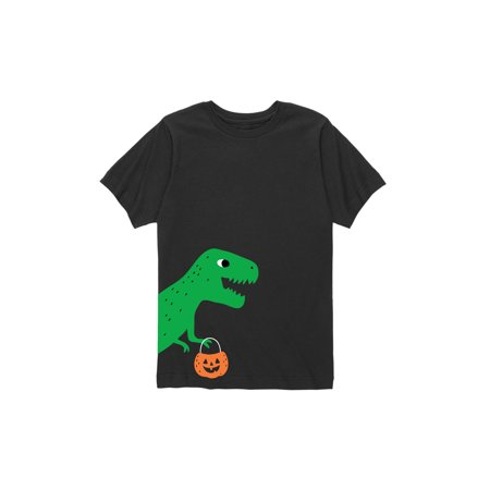 Halloween Dino Side Hit  - Toddler Short Sleeve Tee - Short Halloween Poems For Toddlers