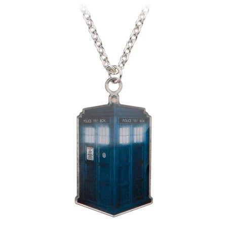 Dr. Who Photo Printed Stamp Cut Tardis Necklace