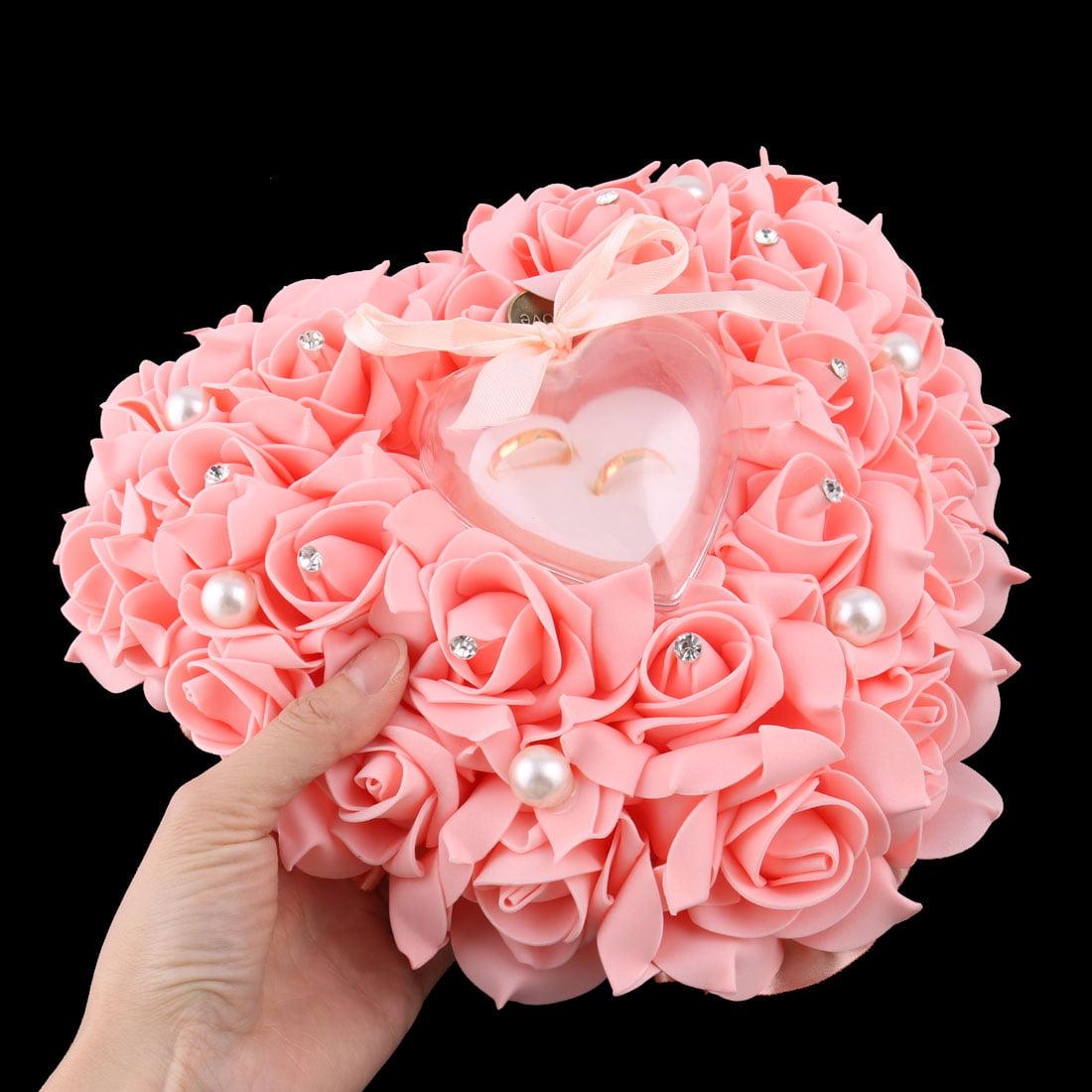 Wedding Foam Heart Design Decor Rose Flower Bridal Ring Pillow Box