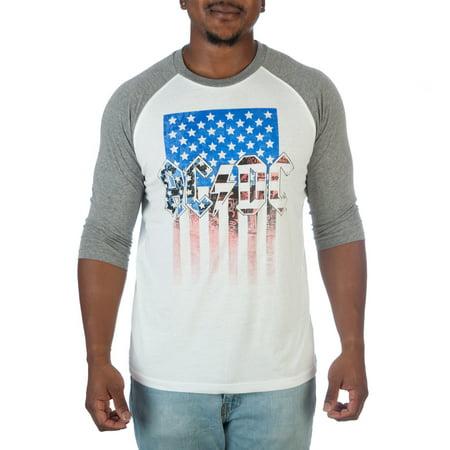Mens Ac Dc American Flag Raglan Shirt