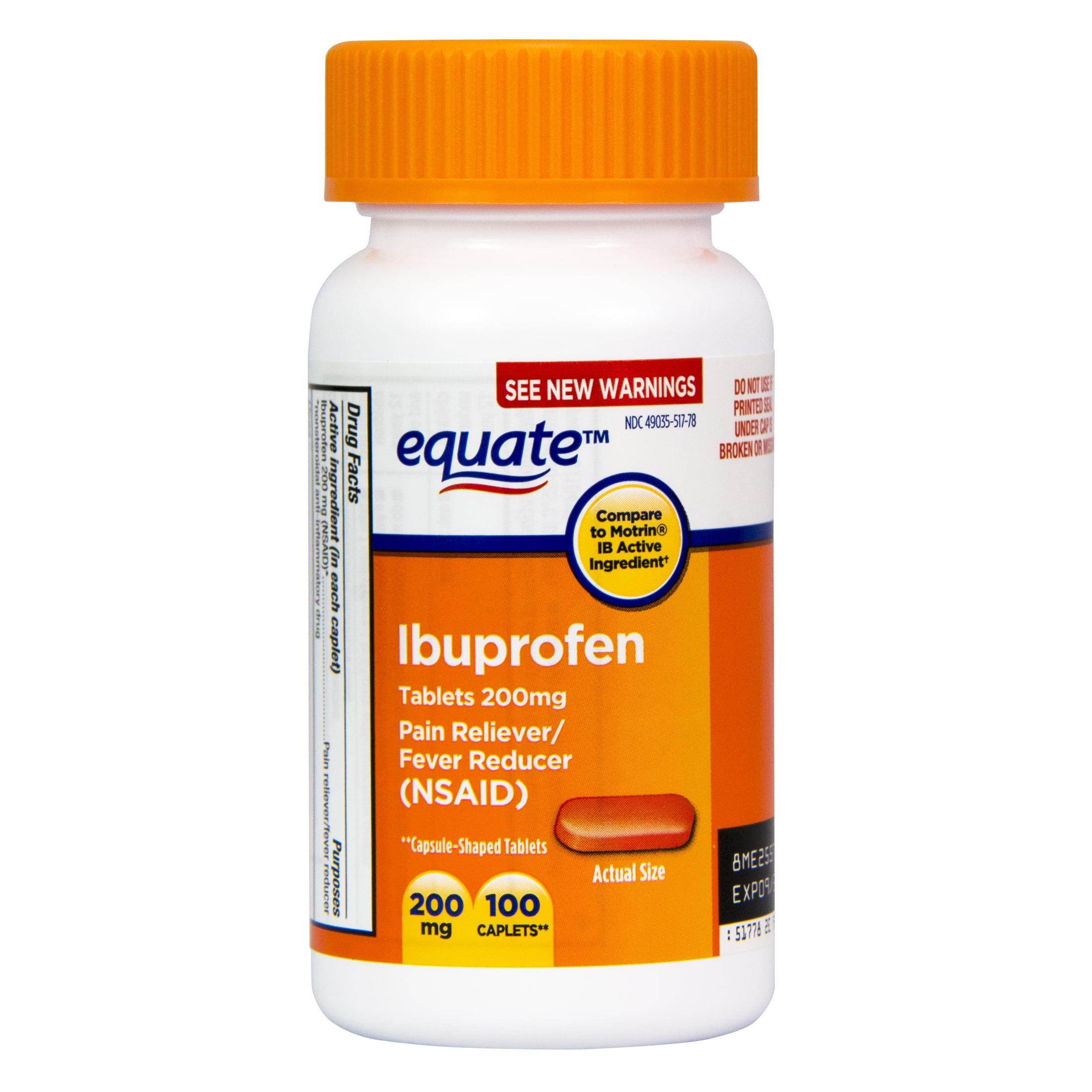 Equate Pain Relief Ibuprofen Caplets, 200 mg, 100 Ct