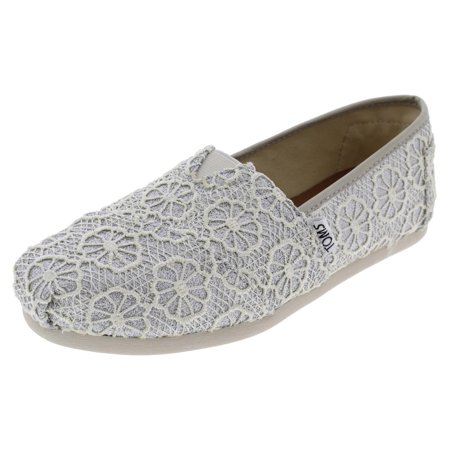 01d0ab56bf94c Toms Women's Classic Silver Crochet Metallic Casual Shoe 8 Women US