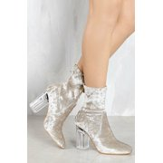 Cape Robbin Fay-11 Closed Toe Crushed Velvet Clear Perspex Heel Bootie Gray