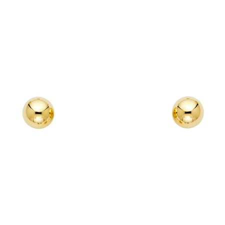 Jewels By Lux 14K Yellow Gold 6mm Screw Back Ball Womens Stud Earrings