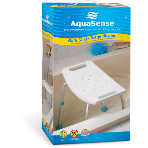 aquasense adjustable bath and shower chair with nonslip seat white image 3 of