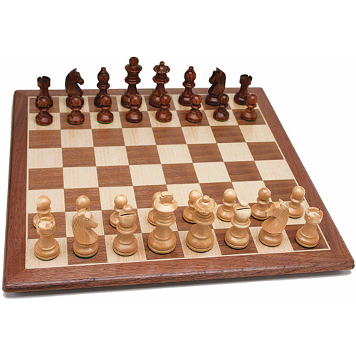 """French Staunton Chess Set, Weighted Pieces and Walnut Wood Board, 19"""""""