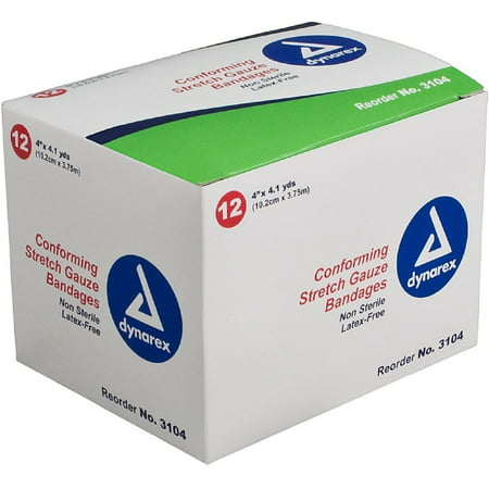 Dynarex Conforming Stretch Gauze Bandages 4 Inch Non-Sterile 12