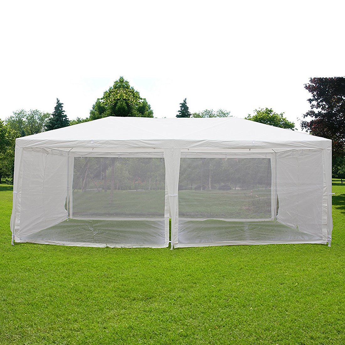 Quictent Outdoor Canopy Gazebo Party Wedding Tent Screen House Sun Shade Shelter With Fully Enclosed Mesh Side Wall 10 X20 White