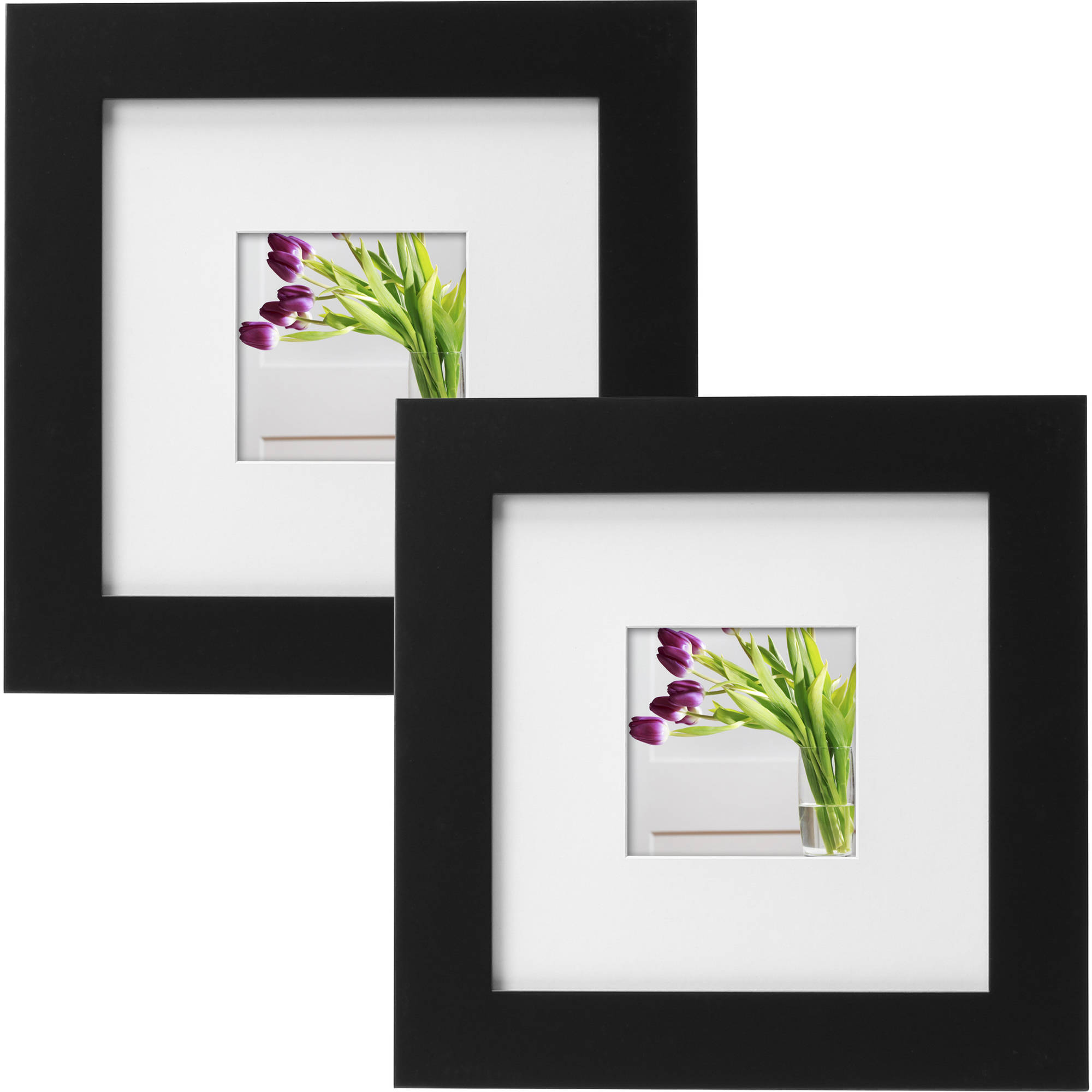 """Mainstays Museum 8"""" x 8"""" Matted to 4"""" x 4"""" Picture Frame, Black, Set of 2"""