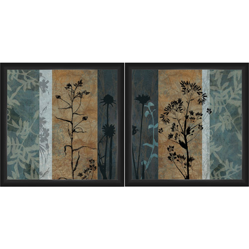 """Framed Graphic """"Blue Botanical"""" Wall Artwork, 18"""" x 18\ by"""