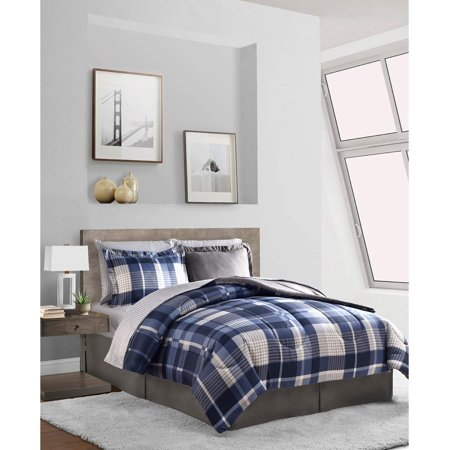 Gray & Blue Plaid Stripes Reversible Boys Teen King Comforter Set (8 Piece King Bed In A