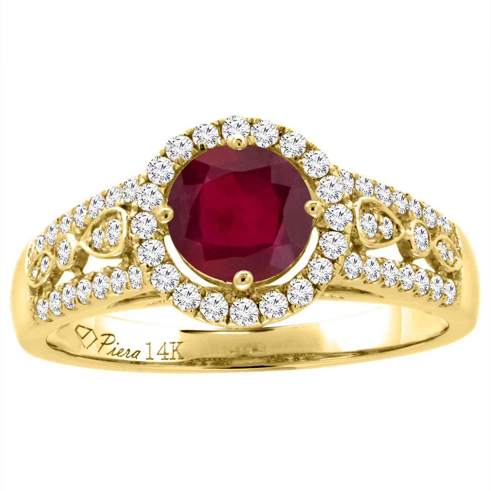 14K Yellow Gold Diamond Enhanced Genuine Ruby Engagement Halo Ring Round 7 mm, size 5 by Gabriella Gold