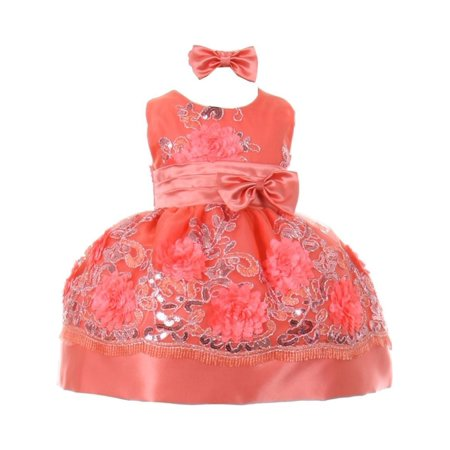 Baby Girls Coral Floral Sequin Embroidered Headband Flower Girl Dress