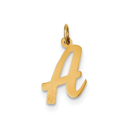 14k Yellow Gold Polished Flat Script Upper Case Letter A Initial Charm 19x11mm