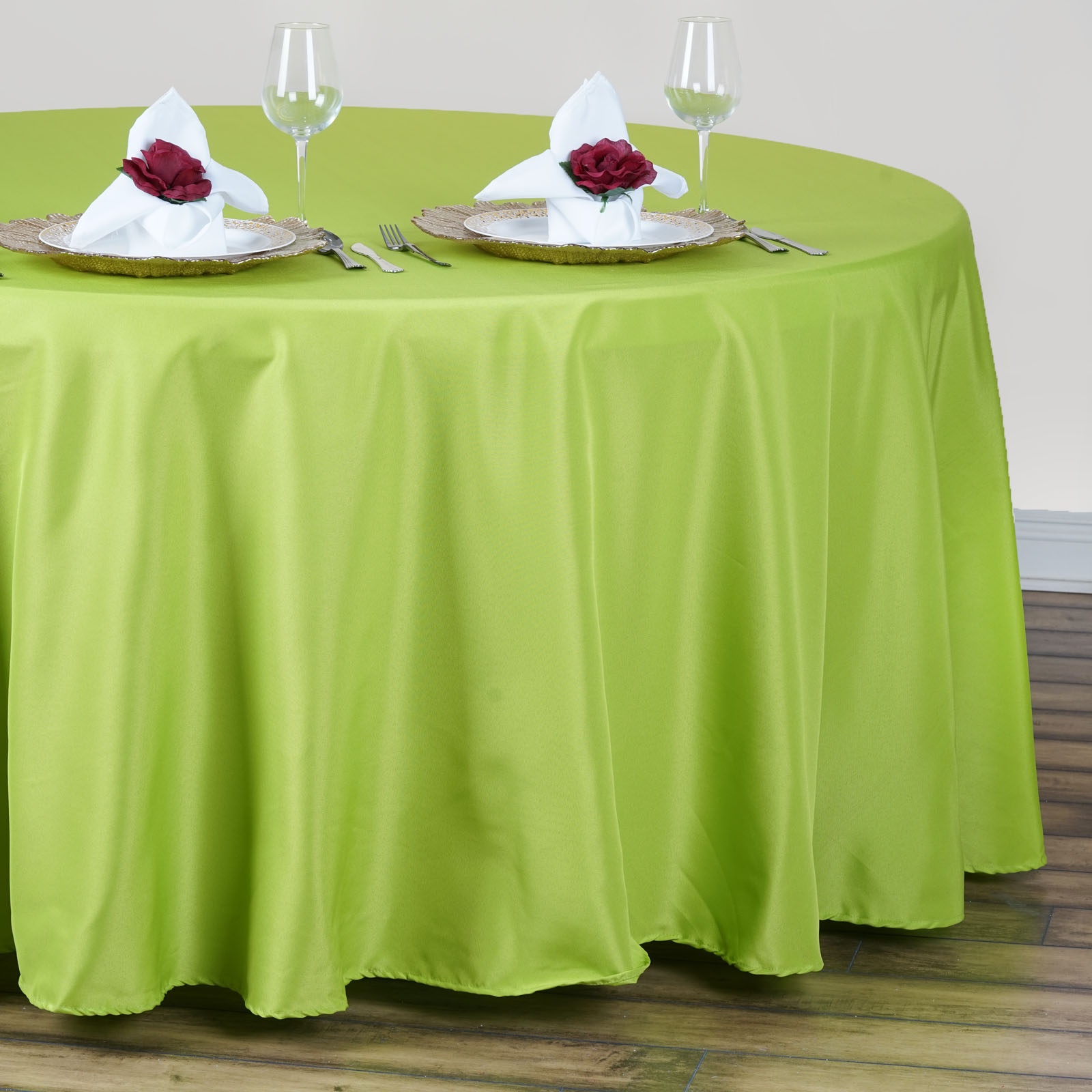 "BalsaCircle 120"" Round Polyester Tablecloth for Party Wedding Reception Catering Dining Home Table Linens"