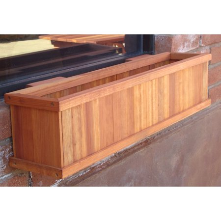 """Image of """"8.5""""""""H x 8.5""""""""W x 36""""""""L Heart stain Redwood Planter Box"""""""