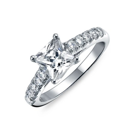 Simple 1.5 CT Princess Cut Cubic Zirconia Solitaire Square 925 Sterling Silver Pave Band AAA CZ Promise Engagement Ring ()