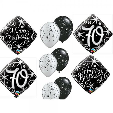 10pc BALLOON Set 70th BIRTHDAY Over The Hill Party BLACK Silver Classy Decorations