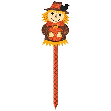 Amscan Welcome Fall Thanksgiving Party Scarecrow Yard Sign Decoration, Orange, 21 12