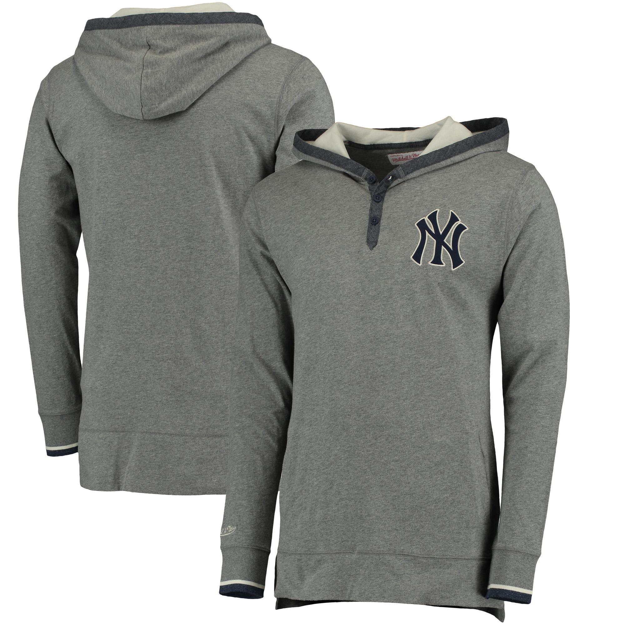 New York Yankees Mitchell & Ness Seal The Win Hoodie - Gray