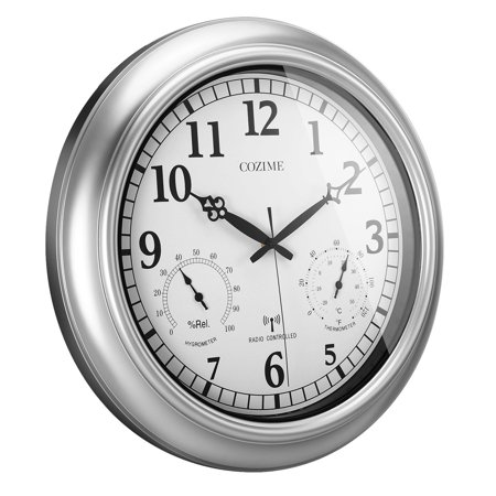 Radio Controlled Outdoor Wall Clock (18inch Waterproof Plastic Wall Clock Radio Movement Silvery Frame Clock )