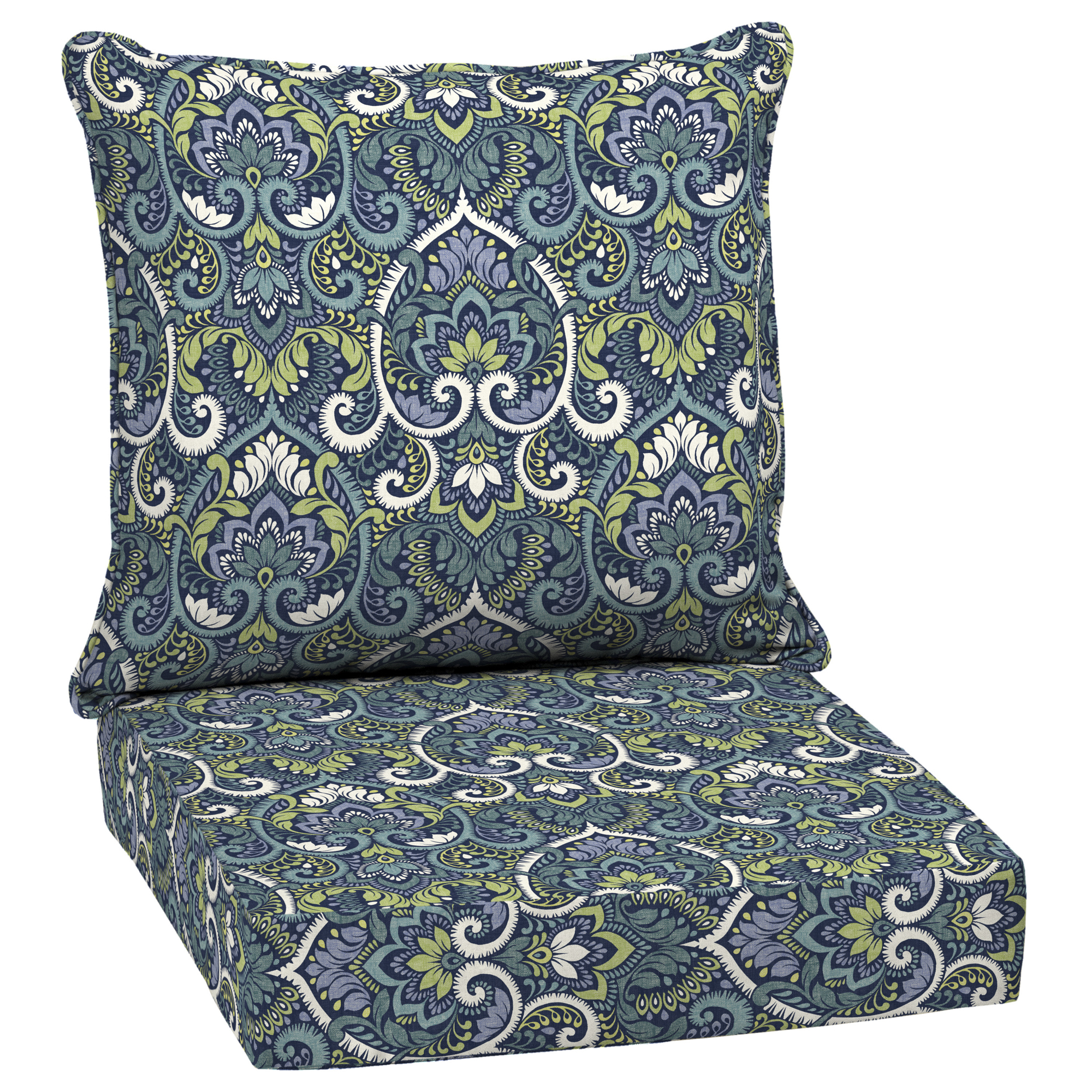 Arden Selections Sapphire Aurora Damask 46.5 x 24 in. Outdoor Deep Seat Cushion Set