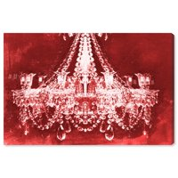Runway Avenue Fashion and Glam Wall Art Canvas Prints 'Dramatic Entrance Red Velvet' Chandeliers - Red, White