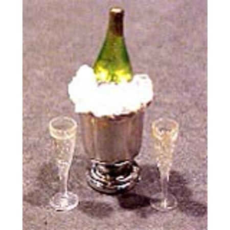 Dollhouse Champagne Bottle In Ice Bucket W/2 Filled Glasses for $<!---->