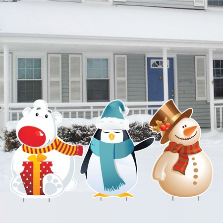 Polar Bears And Penguins (Polar Bear, Penguin and Snowman Christmas Lawn)