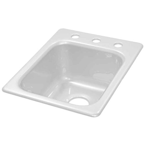 Lyons Industries DKPREP01 White 16 in. x 20 in. Single Bowl Acrylic 8 in. Deep Kitchen Prep Sink With Three Faucet Holes