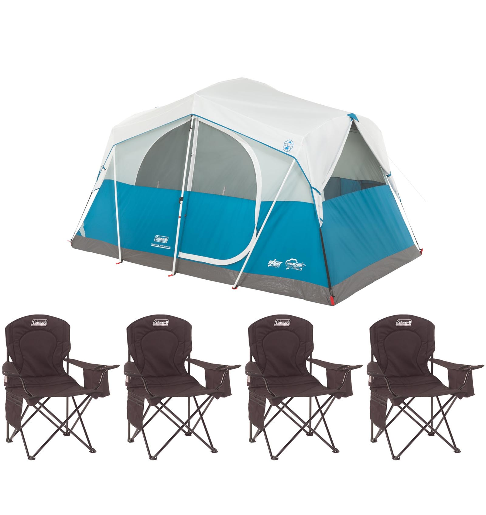 Coleman Echo Lake 6 Person Fast Pitch 12' x 7' Cabin Tent w/ (4) Camping Chairs