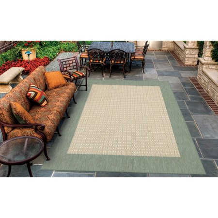 Couristan Recife Checkered Field Rug, Natural/Green (Checkered Field Natural)