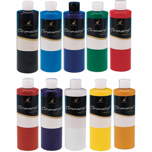 Chromacryl 16-Ounce Acrylic Paint, Black