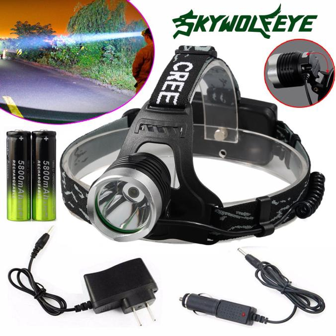 Huppin's XM-L T6 LED Focus Headlight Head Lamp Zoomable + 2x18650 +Charger