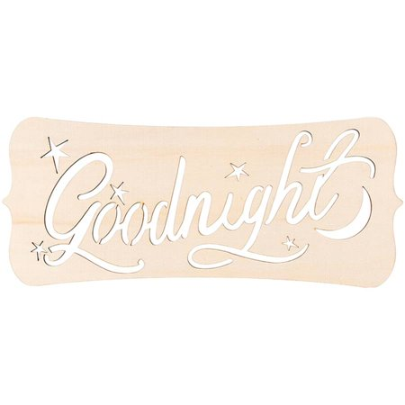 - Laser Cut Wood Sign, Fancy Rectangle Goodnight, 14