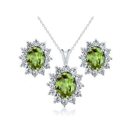 - 2.93 Ct Oval Green Peridot 925 Sterling Silver Pendant Earrings Set