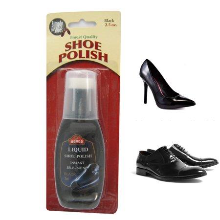 Liquid Shoe Polish Black Instant Self Shine Boot Leather Cream Wax 2.5 oz 1