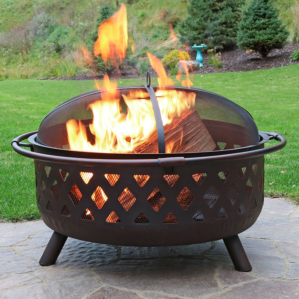 Sunnydaze Large Crossweave Outdoor Fire Pit with Spark Screen and Poker, Round Wood Burning Patio Firepit Bowl, 36 Inch, Bronze