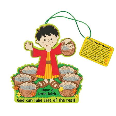 Fun Express - Feeding The 5000 CK- 12 - Craft Kits - Hanging Decor Craft Kits - Sign Decoration Craft Kits - 12 Pieces