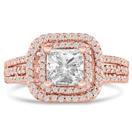 1 2/3 Carat Princess Cut Double Halo Diamond Engagement Ring in 14 Karat Rose Gold Size 5
