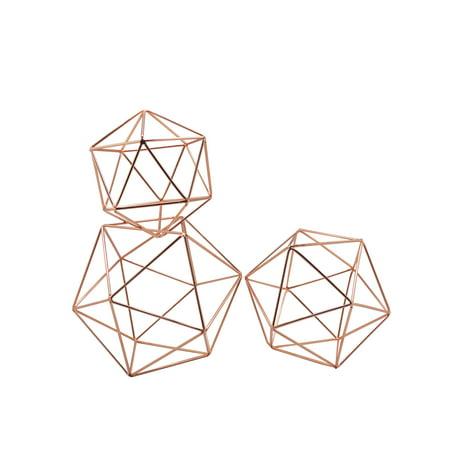 Koyal Wholesale Rose Gold Geometric Decor Shapes, Set of 3, Himmelis Prisms Assorted Sizes for 3D Hanging